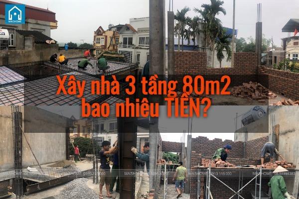 Chi phí xây nhà 3 tầng 80m2 tư vấn từ kiến trúc sư Mashome