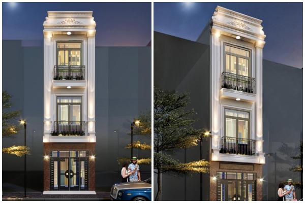 Thiết kế thi công nhà phố 3 tầng tân cổ điển tại Long Biên