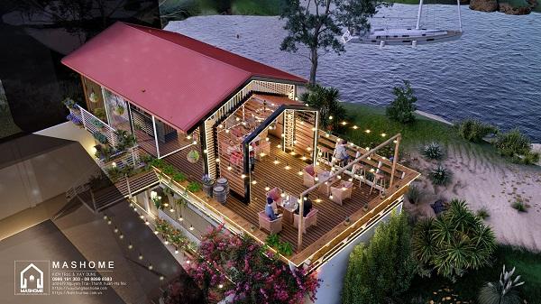 Thiết kế cafe view sông Hồng