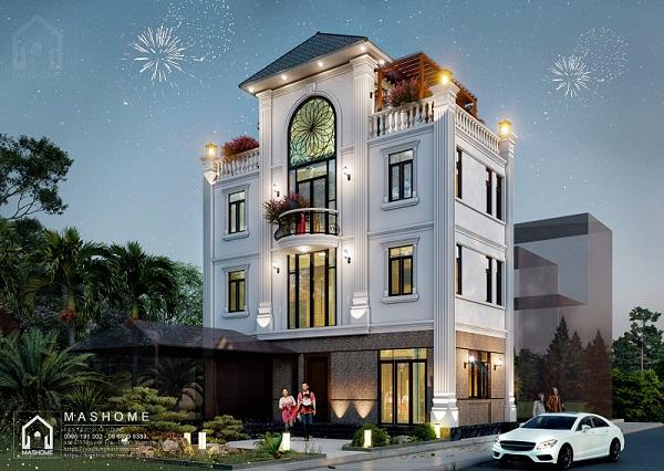 Thiết kế nhà 3 tầng 1 tum mặt tiền 6m tân cổ điển của anh Khoa - Nam Dư