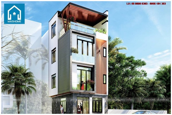 Thiết kế nhà phố 3 tầng 1 tum anh Khải - Vân Canh - Hoài Đức- Hà Nội